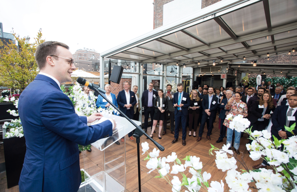 Chasten Buttigieg speaks at the U.S. Summit VIP Reception 1
