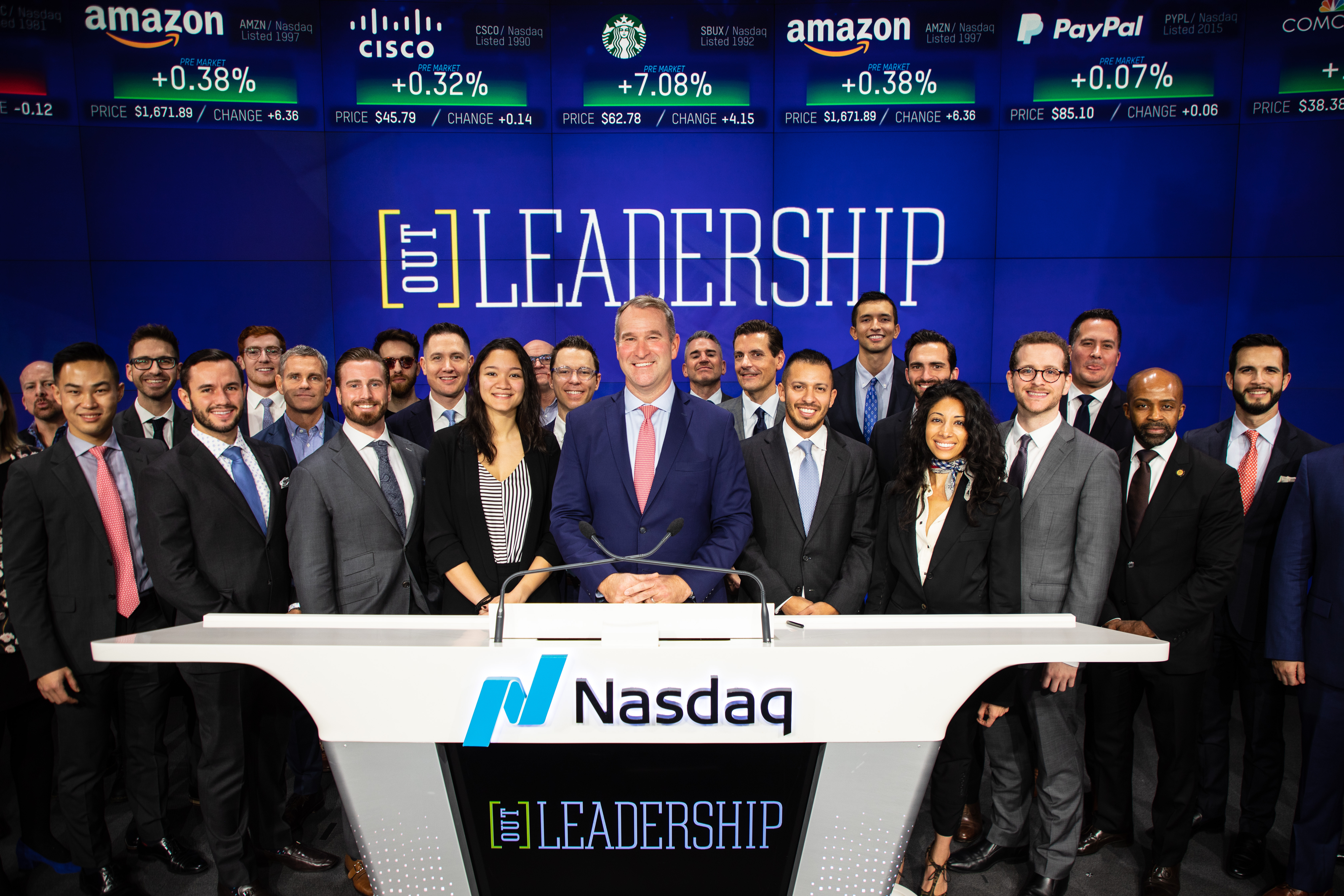 Out Leadership rings the market opening bell at Nasdaq